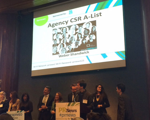 Weber Shandwick Named to PR News CSR A-List for Fourth Consecutive Year
