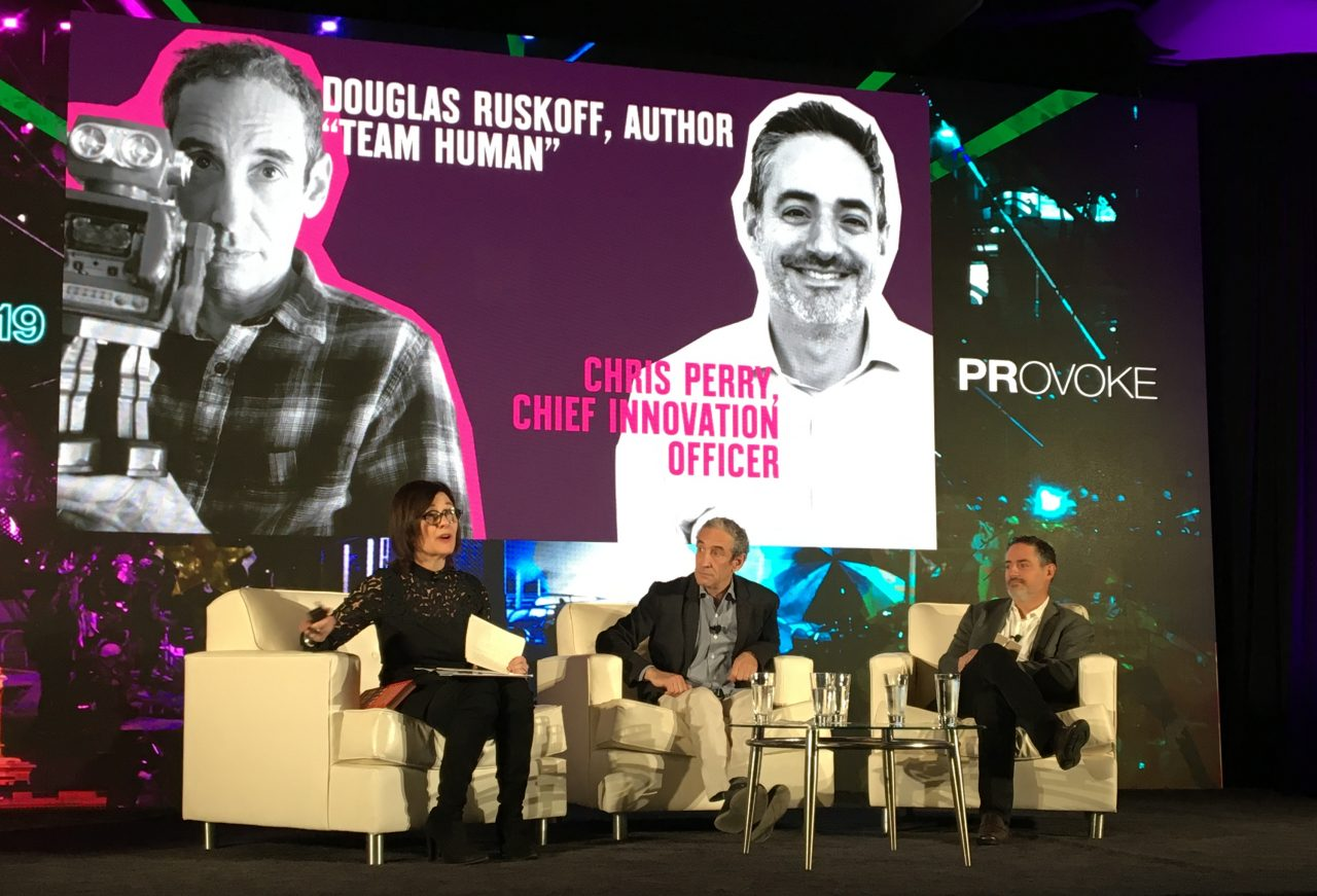 Two Weber Shandwick executives and media theorist/author Doug Rushkoff on the PRovoke 2019 stage
