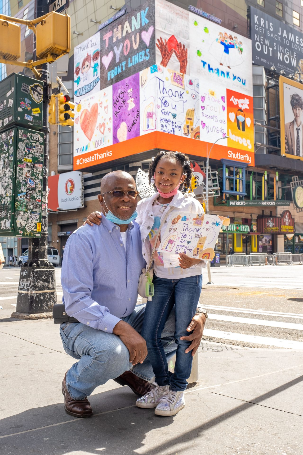 Shutterfly surprises LI kids with NYC billboard of their art for essential workers